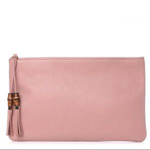 💗NEW Gucci Pink Leather Bamboo Clutch Pouch Bag